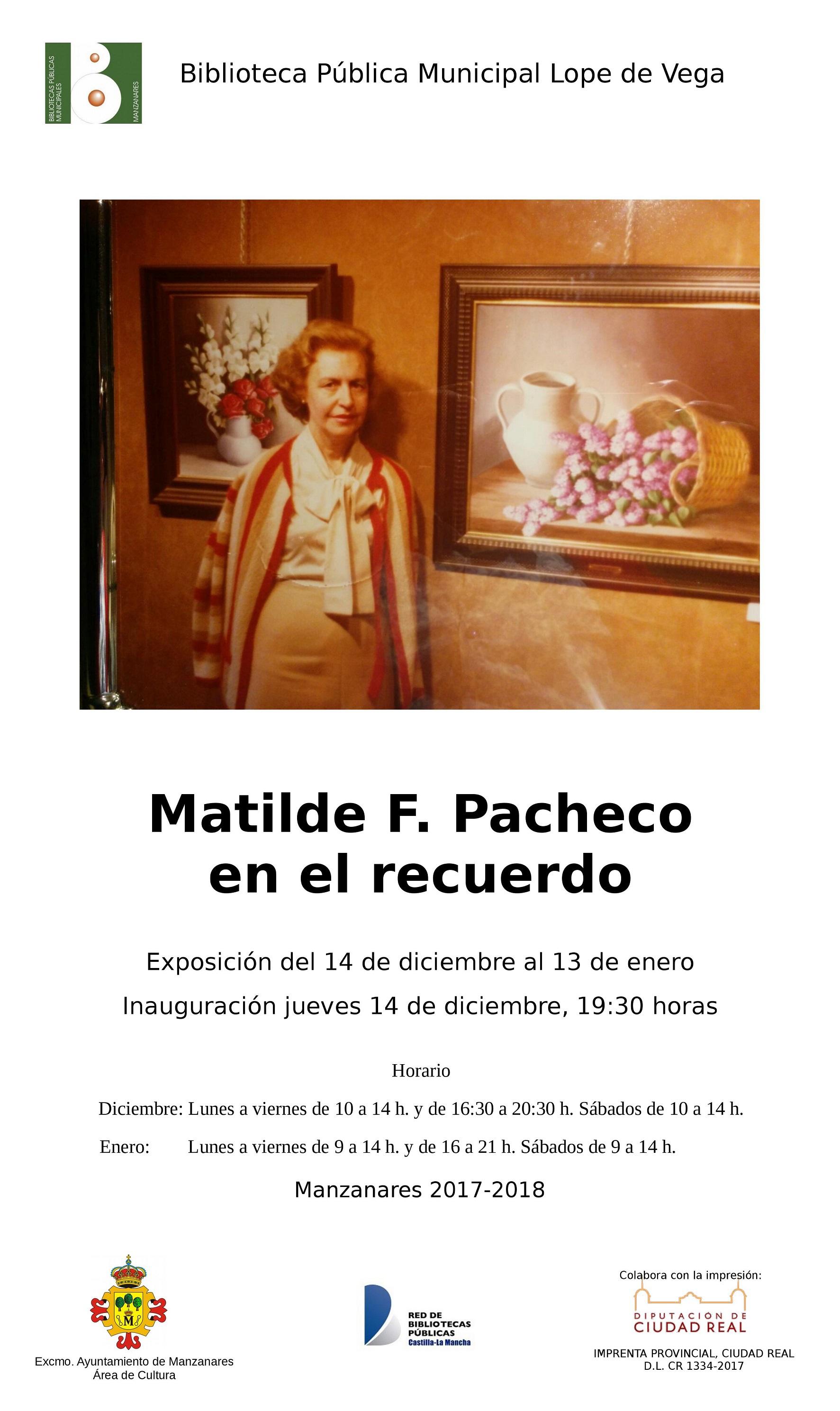 Imagen de la actividad Exposición: Matilde F. Pacheco en el recuerdo