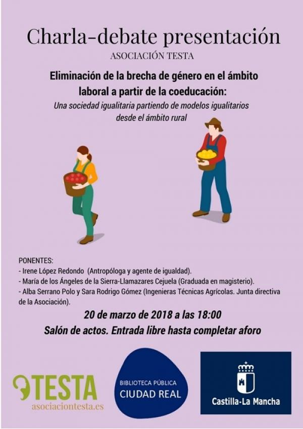 """Imagen de la actividad Charla-debate """"Eliminación de la brecha de género en el ámbito laboral a partir de la coeducación: Una sociedad igualitaria partiendo de modelos igualitarios desde el ámbito rural""""."""