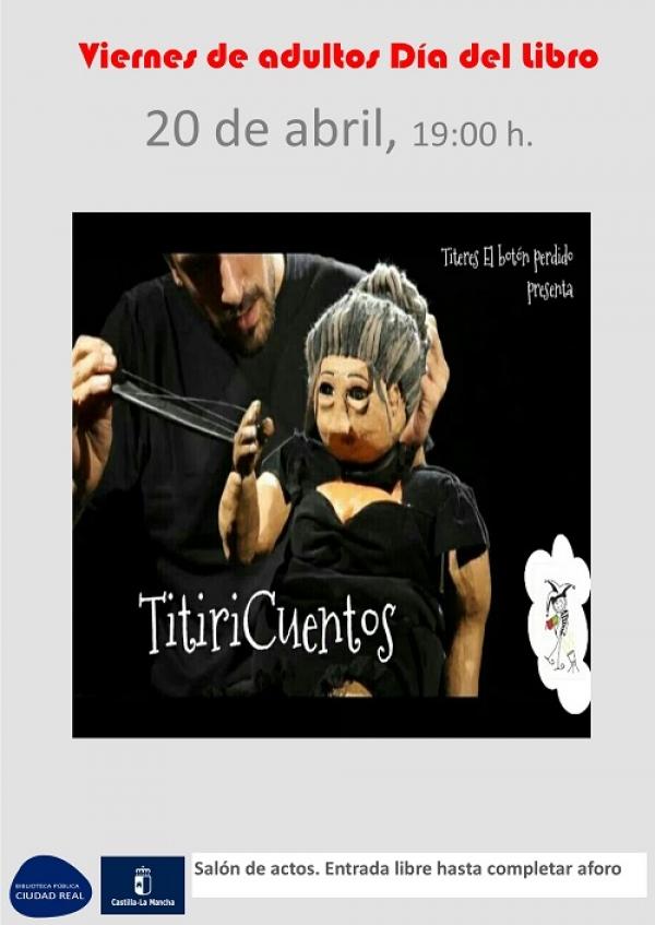 """Imagen de la actividad Viernes de adultos Día del Libro """"TitiriCuentos"""" . El botón perdido"""