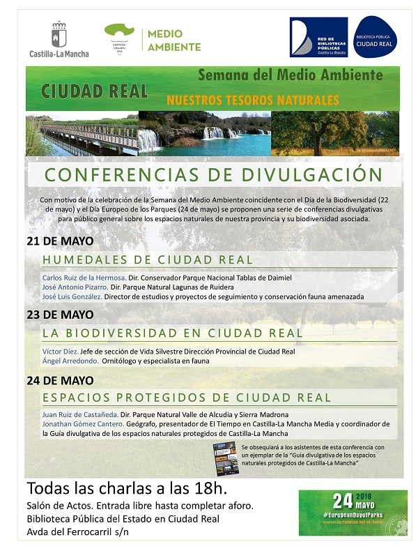 Imagen de la actividad I Ciclo de Conferencias : Semana del Medio Ambiente de Ciudad Real: nuestros tesoros naturales. Humedales, Biodiversidad y Espacios Protegidos.