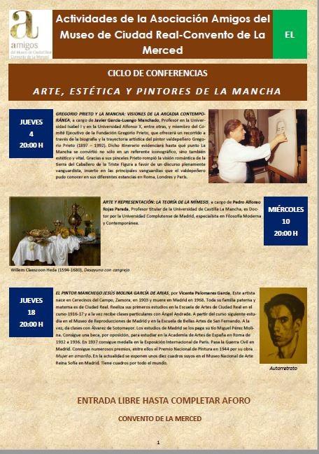 Imagen de la actividad Actividades de la Asociación Amigos del Museo de Ciudad Real-Convento de La Merced :Ciclo de Conferencias: Arte, Estética y Pintores de la Mancha.