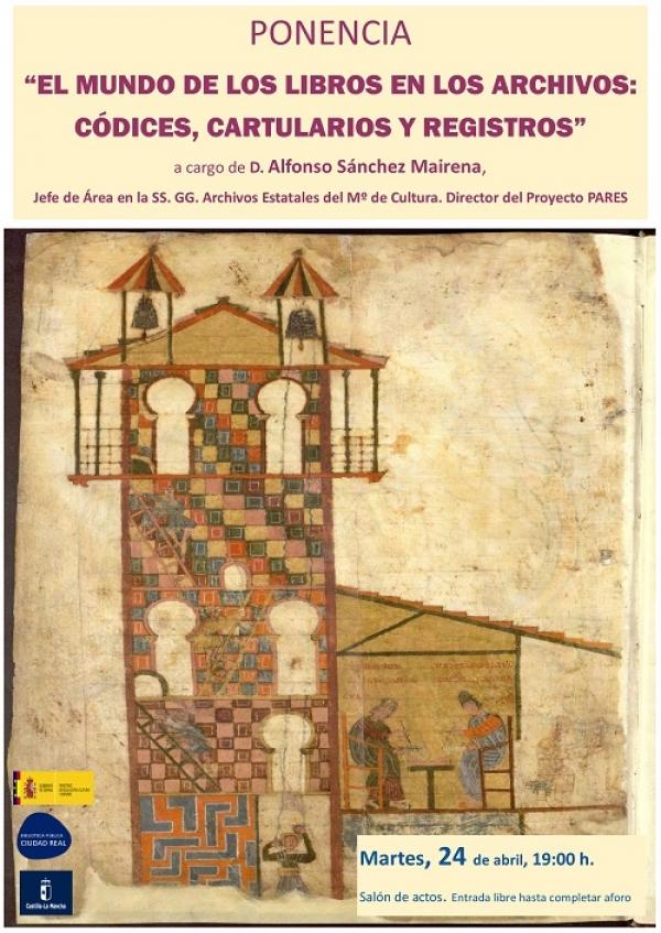 """Imagen de la actividad Ponencia """"El mundo de los libros en los archivos: Códices, Cartularios y Registros"""" por Alfonso Sánchez Mairena"""