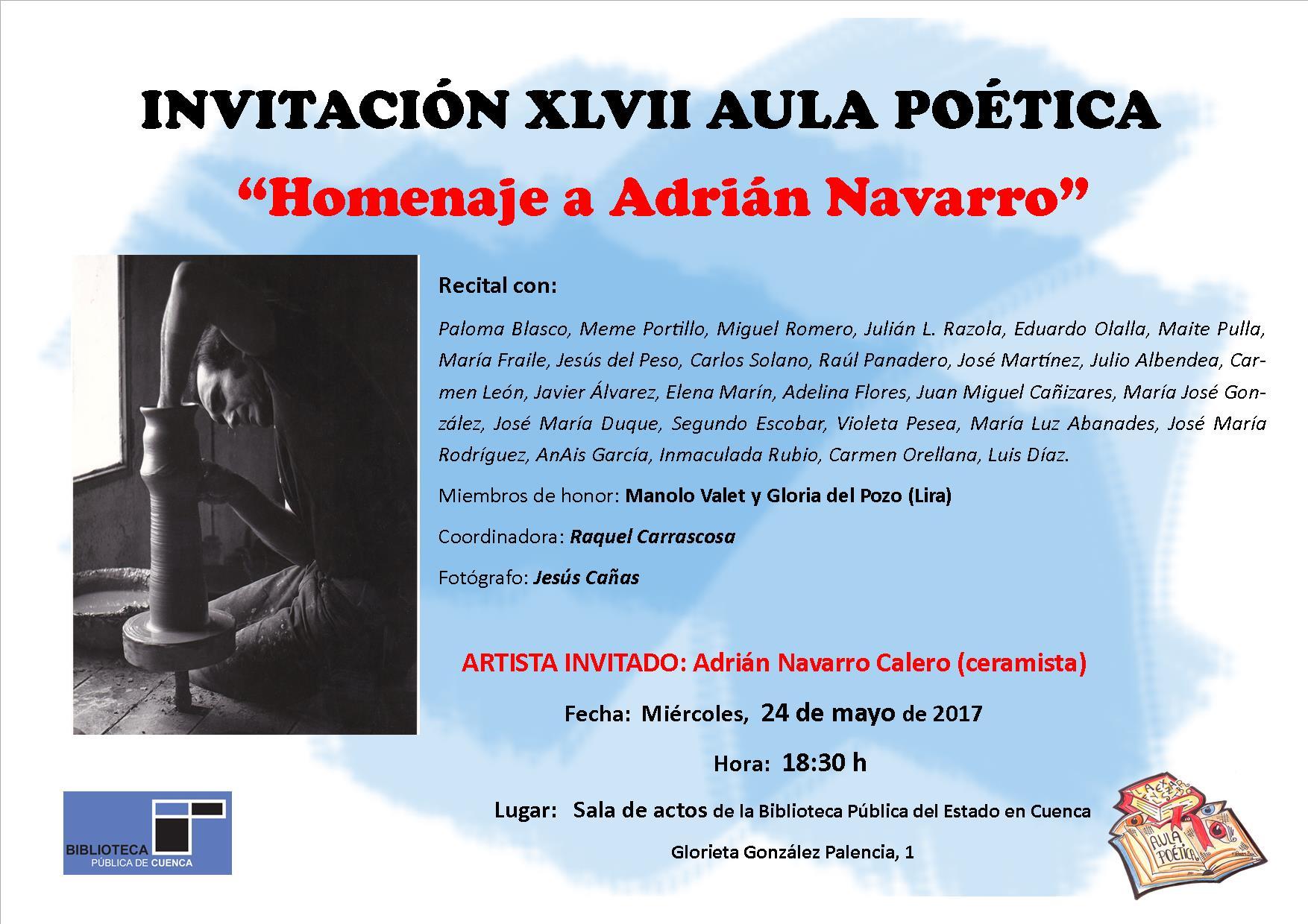 """Imagen de la actividad Aula Poética """"Homenaje a Adrián Navarro"""""""