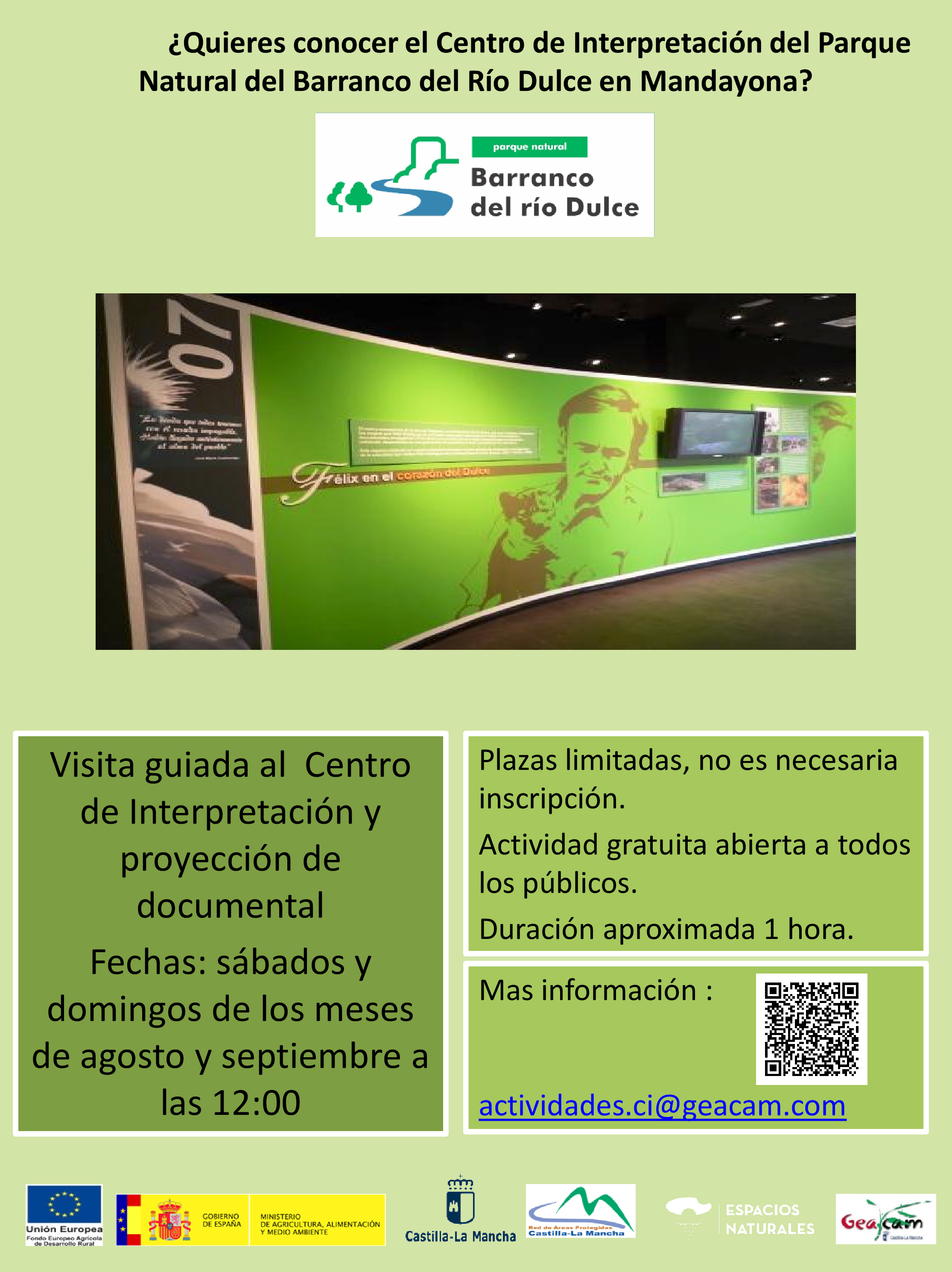 Imagen de la actividad VISITAS GUIADAS AL CENTRO DE INTERPRETACIÓN DEL PARQUE NATURAL DEL BARRANCO DEL RIÓ DULCE EN MANDAYONA